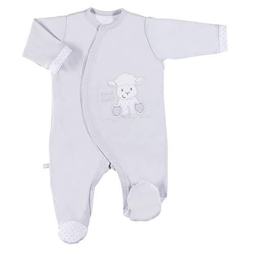 Eevi Newborn Baby Strampler - Mädchen Jungen Unisex - Langarm - Baumwolle - Strickerei - Füßchen - Grau - Größe 50