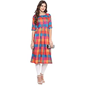 Aahwan Women's Rayon Regular Kurta