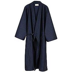 Unisxe Peignoir de Bain Kimono Japonais en Pur Coton Double Femme Homme Chemise de Nuit Lâche Ruban Poncho Plage Piscine Vêtement de Sauna Hydrothérapie Combinaison de Robe,Bleu Foncé,L