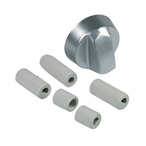 Knebel mit Nullstrich und Adaptern für Backofen Ø 43 mm silber