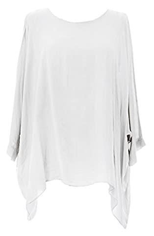 Ladies Womens Italian Lagenlook Quirky Plain Viscose Batwing Loose Baggy Tunic Top Blouse One Size Plus (UK 12-20) (One Size Plus, White)
