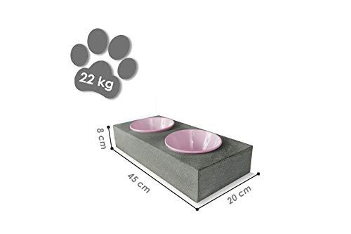 Tazado Futterstation Hundenapf Fressnapf Futterbar mit 2 Näpfen aus Naturstein. STYLISCHE, handgefertigte NÄPFE FÜR Hund UND Katze.