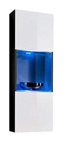 Muebles bonitos vetrinetta sospesa modello oleggio nero bianco con led - larghezza: 40cm x altezza: 126cm x profondità: 29 cm lettiemobili