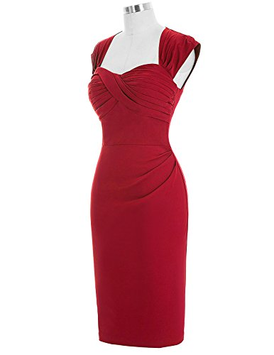 Belle Poque 1950er Style Vintage Kleid Elegant Etuikleid Knielang Festliche Kleider Rot