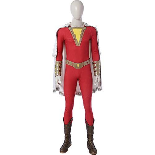 QWEASZER Halloween Cosplay Superman Shazam! Superheld Engen Body Kostüm Party Kostüm Anime Film Leistung Onesies,Shazam-M (Shazam Schwarzen Kostüm)