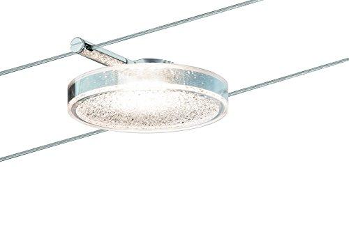 Paulmann 501.14 Seilsystem DiscLED2 Single Erweiterung Tageslichtweiß 1x4W Transparent Dimmbar Tunable white LED 50114 Seilleuchte Hängeleuchte (Single Tunable)