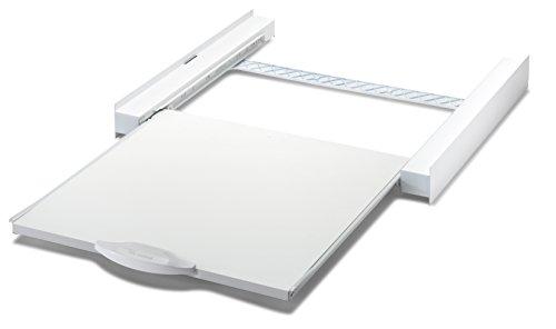 Meliconi Base Torre Plus, kit di Sovrapposizione Universale in metallo per lavatrice e asciugatrice con mensola estraibile e cinghia di sicurezza inclusa. Made in italy