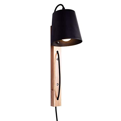 CUICANH Luces De Pared Con Enchufe El Cable, E27 Nordic Moderno Hierro Madera Aplique De Pared Interruptor Lámpara De Pared Plug-in Para Estudio Pasillo-negras-interruptor De Atenuación 16x16x38cm