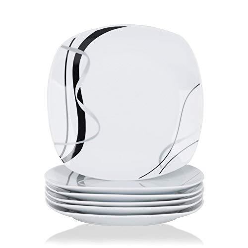 VEWEET Porzellan Speiseteller 'Fiona' 6-teilig Set   Durchmesser 24,7 cm   Ergänzung zum Tafelservice 'Fiona'   Essteller für 6 Personen