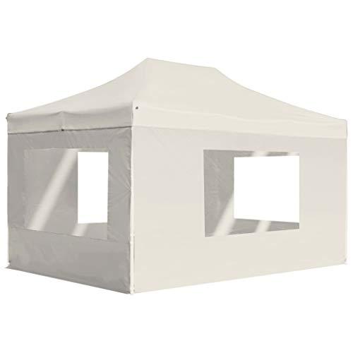 UnfadeMemory Partyzelt mit Wänden und Fenstern Faltbar Gartenzelt Party Festzelt Pavillon Zelt Oxford-Gewebe mit PVC-Beschichtung Sonnenschutz Outdoor Faltpavillon mit Alu-Rahmen (4,5 x 3 m, Creme)