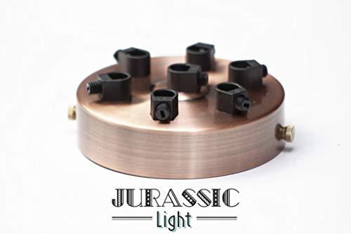 Rosace luminaire multiple ronde en métal finition cuivrée 7 sorties diam. 10 cm