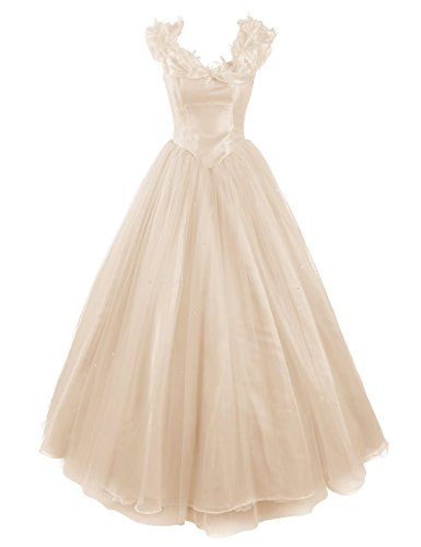 Dresstells, Robe de Cendrillon, robe de cérémonie/soirée/bal longueur ras du sol, mode de bal Champagne