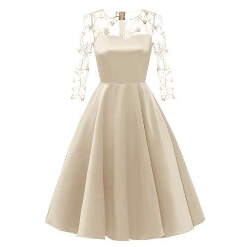 MAYOGO Kleid Damen Elegant Vintage 50er Spitze Kleid mit Tüll Langarm Cocktail Party Rockabill Kleider Abendkleid (Mint Grün Plus Size Kleid)