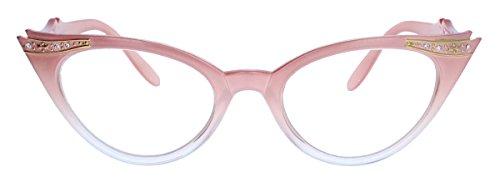 50er Jahre Fashion Brille Cat Eye Modell Klarglas Ombre Nerdbrille Glitzersteine (Candy Rosa)