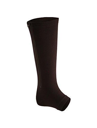 sourcingmap® Unisex Reißverschluss Knie Hohe Band zehenlos Kompression Socken 1 Pack schwarz M (Reißverschluss-knie-boot)