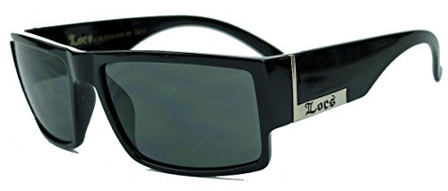 LOCS® Herren Sonnenbrille West Coast Gangsta Flat Top Kush MJ26 (Triple Black)