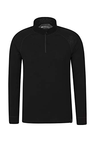 Mountain Warehouse Camiseta térmica Interior en Lana Merina con Manga Larga para Hombre - Camiseta Transpirable, Media Cremallera, Camiseta cómoda - para Acampar Negro Large