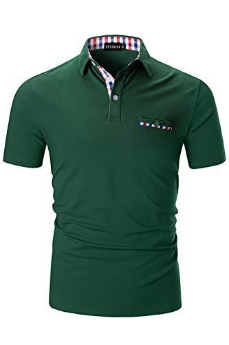 Grün, Herren Shirt (YCUEUST Herren Poloshirts Kurzarm Basic Polohemd Sommer Polo Shirt Grün Large)