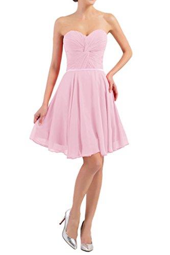 Victory Bridal Einfach Traegerlos Herzausschnitt Cocktailkleider Abendkleider Partykleider Kurz Mini Rosa