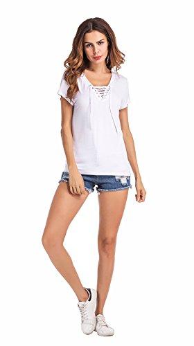 Clasichic Damen Sommer Kurzarm Top T-Shirts Bluse Oberteil mit Schnürung Weiß