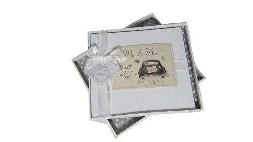 """White Cotton Cards Hochzeits-Gästebuch, Aufschrift\""""Mr and Mrs\"""", Motiv Hochzeitsauto"""