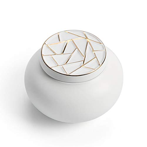 Kleine Keramik Urne Andenken Keramik Elegant Für Mensch Oder Tier Asche-Hält Bis Zu 20 Kubikzentimeter Asche,Mattewhite(A) -