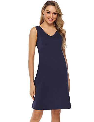 Hawiton Damen Nachthemd Kurz Sommerkleid Strandkleid A Linie Kleider Ärmlos Nachtwäsche Sleepshirt aus Baumwolle Dunkelblau S -