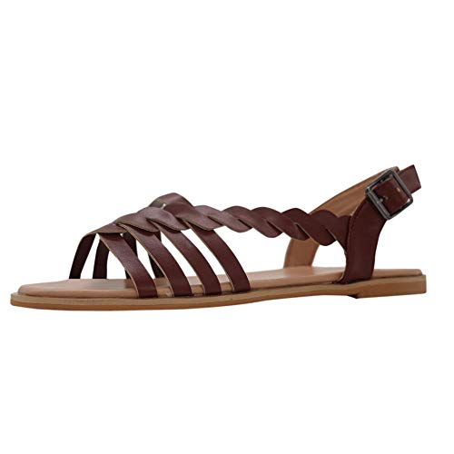 SKYROPNG Ladies Bohemian Sandals, Brown Summer Ladies Sandals Cross Strap Ankle Buckle Braided Cushioned Flat Summer Basic Roman Shoes Leisure and Entertainment@40 Back Thong Sandal