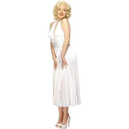 Marilyn Monroe Neckholder Kostüm - Smiffys Karneval Damen Kostüm Marilyn Monroe Neckholder Kleid weiß Größe M