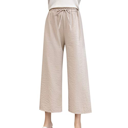 WOZOW Weites Bein Palazzo Pants Damen Capri Bettwäsche Baumwolle Solid Einfarbig Casual Loose Long High Waist Tie Riemchen Mode Crop Trousers (2XL,Khaki) -
