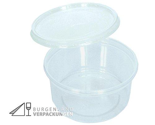 100 Feinkostbecher mit Deckel rund 250 ml • Verpackungsbecher mit Deckel • Salatschale klar transparent • Salatbecher aus Polypropylen (PP) • Portionsbecher • Sossenbecher • Einfrierbehälter