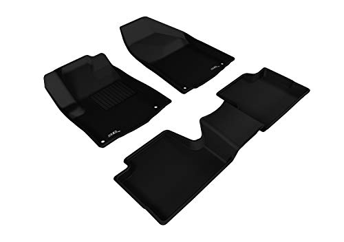 3d MAXpider All 2 Row Custom Fit Floor Mat for select Cherokee Models - cagou Rubber (Black)