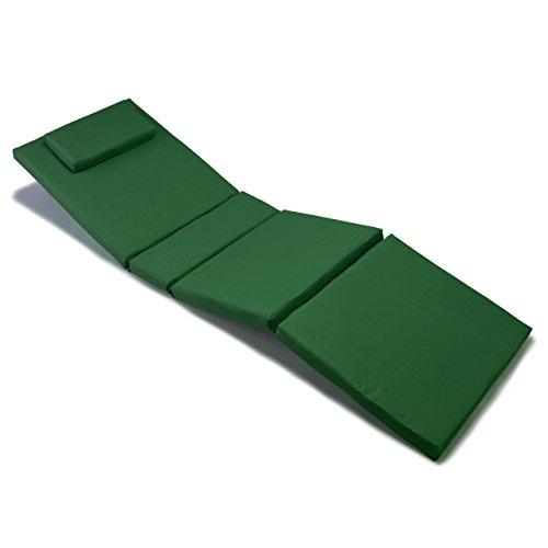 Nexos GL06023 Divero Liegen-Auflage Polster Kopfkissen für Sauna Garten Terrasse hochwertig dunkelgrün,