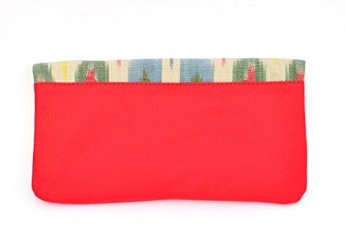 at-ikat-indian-da-donna-multicolor-and-rosso-fold-clutch-borsetta-cum-ipad-manica-sera-partito-borsa
