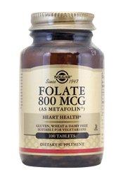 Solgar, Folate (Folsäure) als Metafolin, 800mcg, 100 Veg.Tabletten
