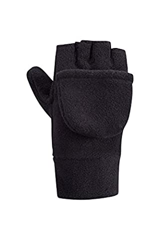 Mountain Warehouse Fingerless Fleece Kids Mitten - Convertible Design, Soft Fleece Fabric for Warm with Elasticised Band - Perfect for Kids Hand Warm & Comfortable Black Medium / Large