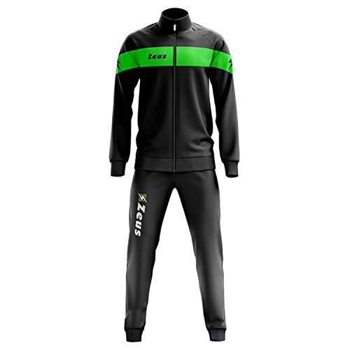 Tuta Apollo Nero-Verde Fluo Fluo Zeus Corsa Sport Uomo Staff Running jogging Allenamento Relax Calcio Calcetto Torneo Scuola Sport (XXXL)