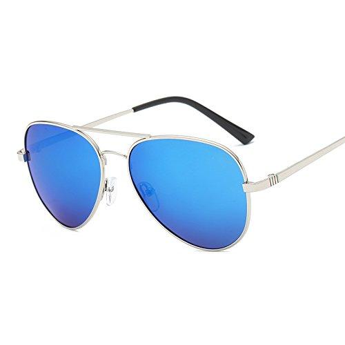 SUGLSO Stilvolle polarisierte Sonnenbrille Premium Military Style Klassische Sonnenbrille, Polarisiert, 100% UV-Schutz Fahrerschutz für Männer (Farbe : Blau)