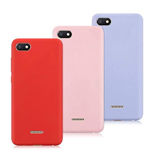 3X Funda Xiaomi Redmi 6A, Trasero Color Sólido Cáscara Flexible Goma Suave Delgado Gel TPU Silicona Protección Case Mate Antigolpes Anti-rasguño Caso - Rojo, Rosa Claro, Púrpura Claro