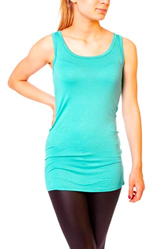 Easy Young Fashion Damen Basic Tank Top Träger Hemd Longtop Unterhemd Extra Lang Skiny Fit One Size Tealblue