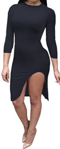 Femmes Sexy ras du cou à manches 3/4 Side de Split Clubwear Bodycon Midi Dress Noir