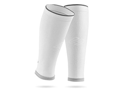 SPORTHACKS Sleeves - Schienbeinschonerhalter & Stutzenhalter mit Kompressionseffekt (weiss basic, III | Wadenumfang 32-38cm) (Kompressions-fußball-socken)