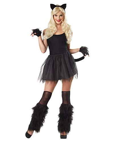 Horror-Shop Kostüm Set Schwarze Katze für Damen | Kunststoff/Polyester 4-TLG. (Katze Kostüm Männlich)