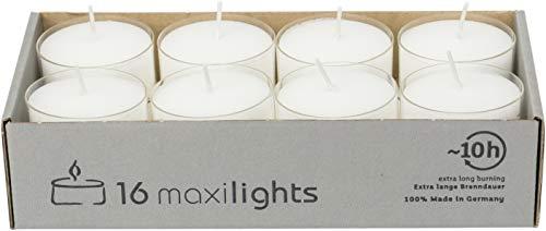 Maxi Teelichter im Acryl-Cup, Weiß, durchgefärbt, 16er-Packung, Maxilicht, transparente Hülle, ohne Duft, Kerzen