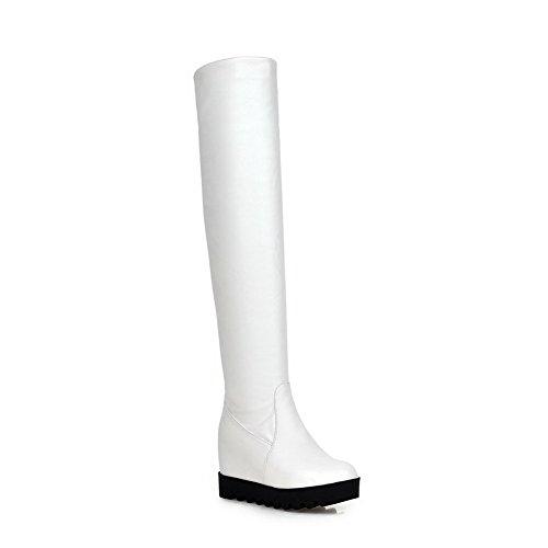 AllhqFashion Damen Ziehen Auf Hoher Absatz Mattglasbirne Rein Hoch-Spitze Stiefel Weiß