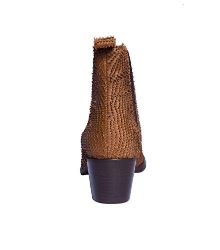 NOBRAND Chaussures hautes Femme Chaussures Bottes Bottines Boots-Cuir-Marron cognac fish