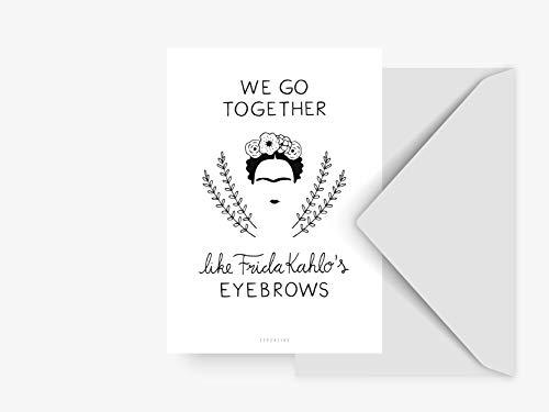 Postkarte - Fridas Eyebrows - von typealive - Schwarz-weiße Postkarte mit Frida Kahlo Motiv und Umschlag für jeden Anlass für Beste Freundin (Postkarten Ca)