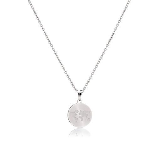 GD GOOD.designs EST. 2015 Damen Weltkette in Silber, Gold oder Roségold, Weltkarten Coin Halskette Kettenlänge 45cm (Silber)