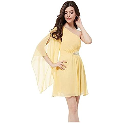 Sexy senza spalline Abito impunture paillettes spalla le doppie punte e fly-sleeve dress in chiffon . yellow . s