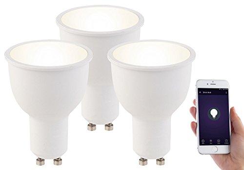 Luminea LED Leuchtmittel dimmbar: 3er-Set WLAN-LED-Lampen, Amazon Alexa & Google Assistant komp, GU10 (WLAN Lampen GU 10)